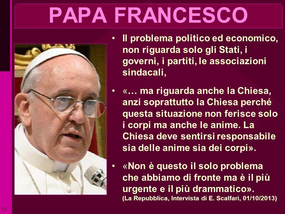 PAPA FRANCESCO Il problema politico ed economico, non riguarda solo gli Stati, i governi, i partiti, le associazioni sindacali,