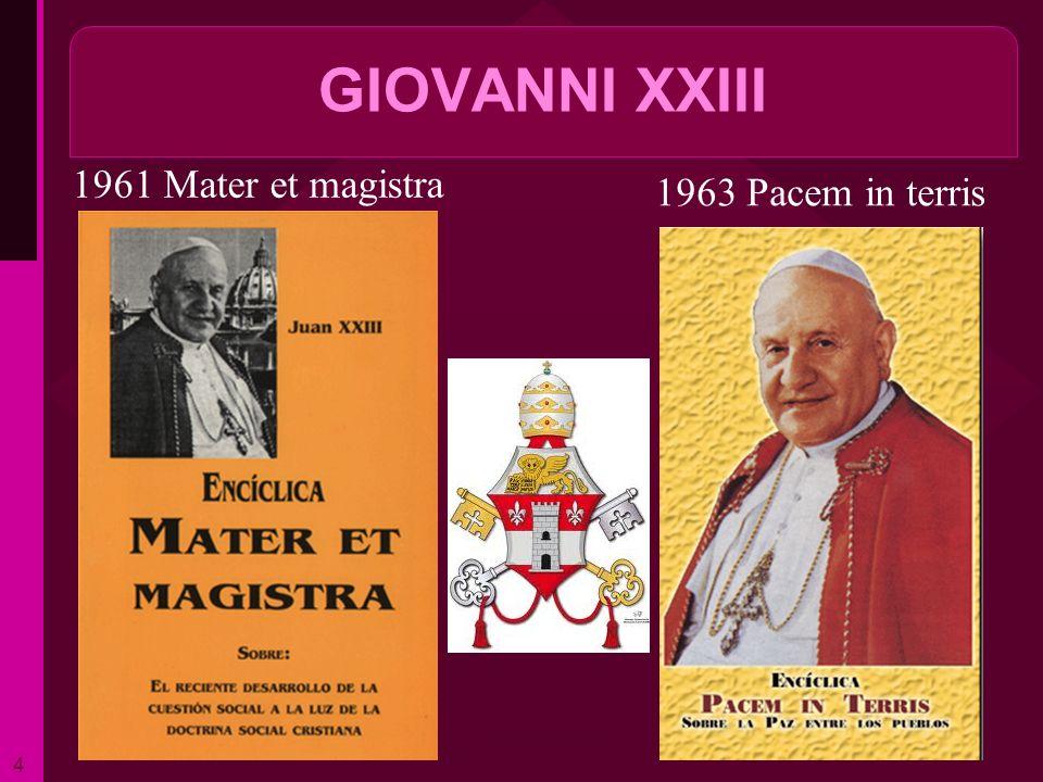 GIOVANNI XXIII 1961 Mater et magistra 1963 Pacem in terris ritardo