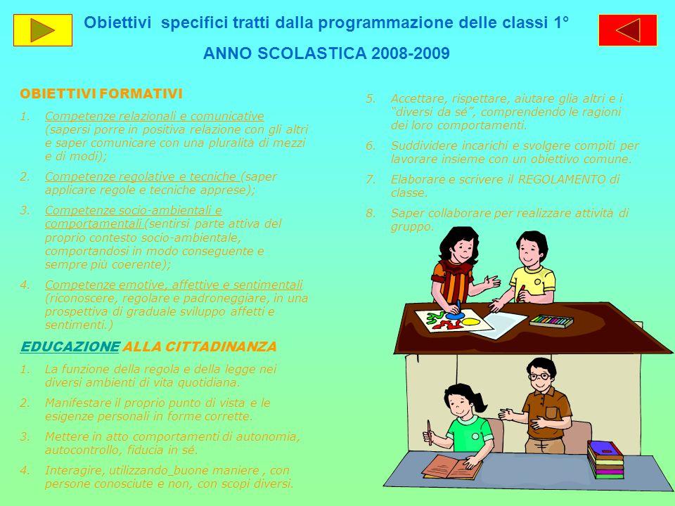 Obiettivi specifici tratti dalla programmazione delle classi 1°