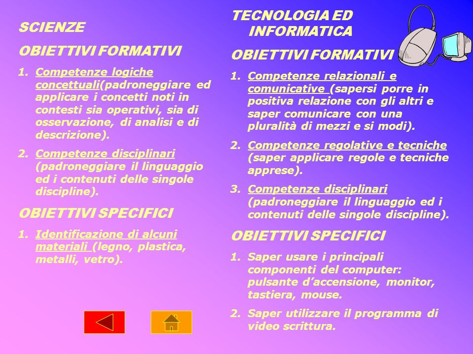 TECNOLOGIA ED INFORMATICA OBIETTIVI FORMATIVI