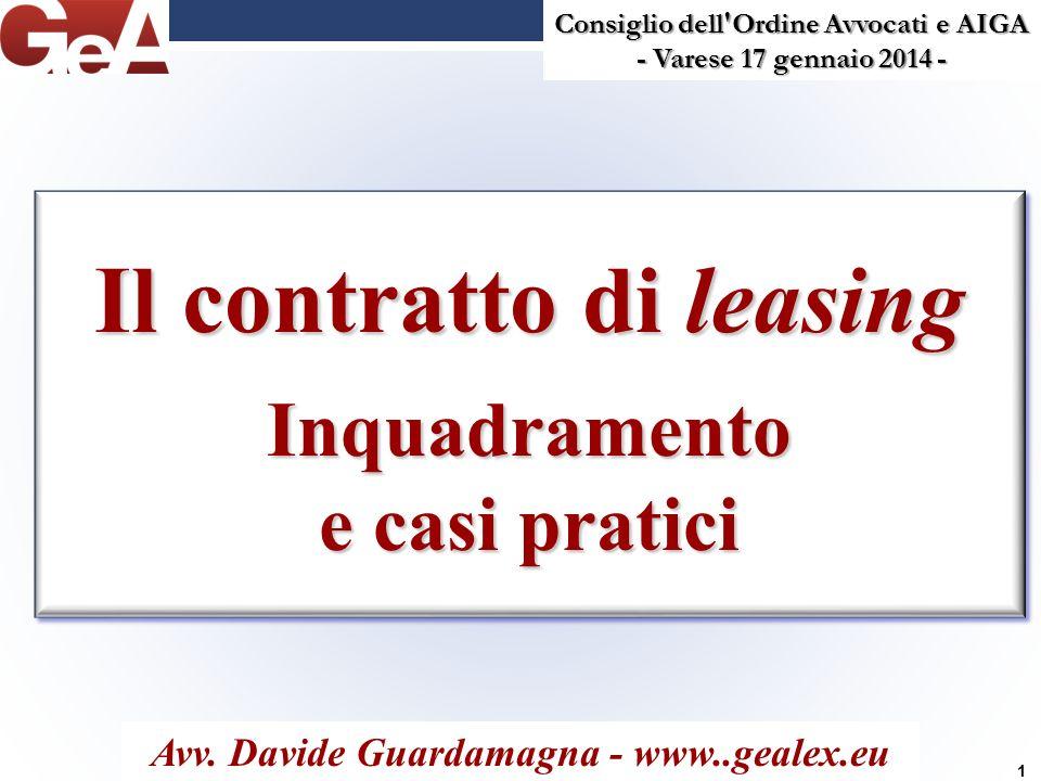Il contratto di leasing Inquadramento e casi pratici