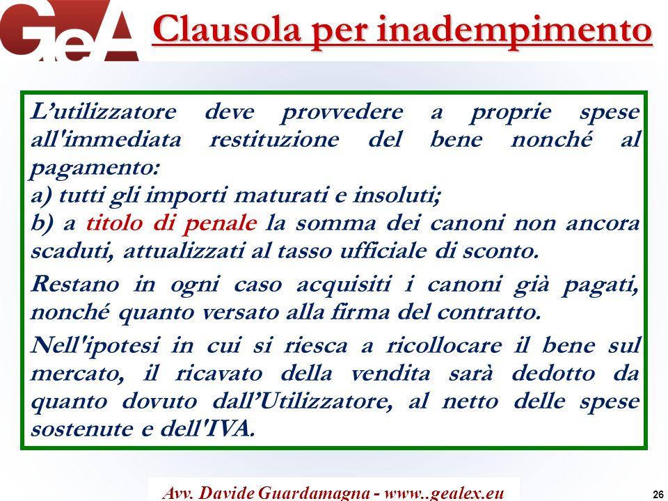 Clausola per inadempimento Avv. Davide Guardamagna - www..gealex.eu