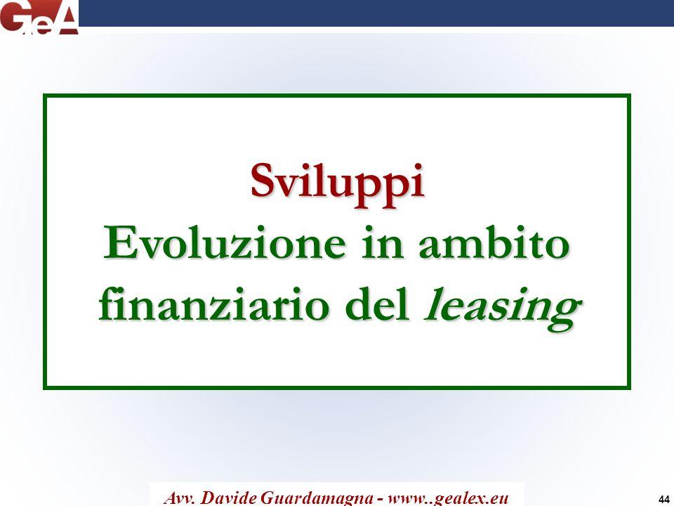 Sviluppi Evoluzione in ambito finanziario del leasing