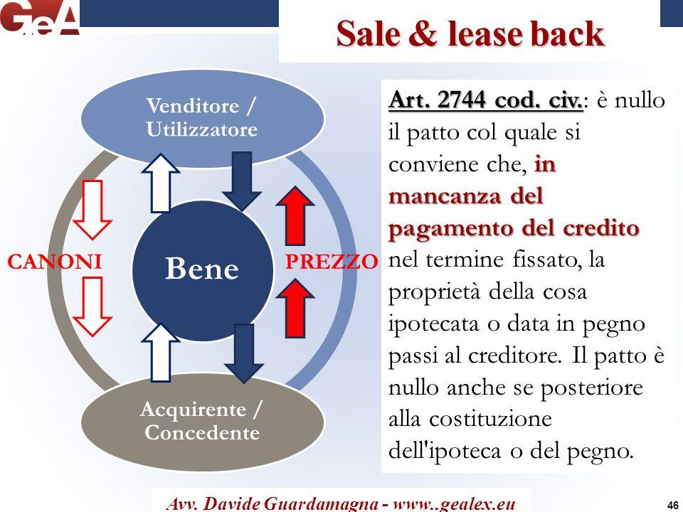 Venditore / Utilizzatore Acquirente / Concedente