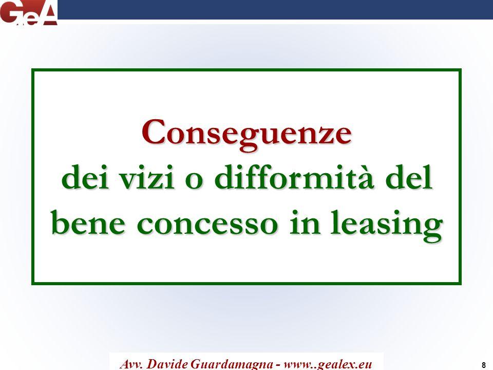 Conseguenze dei vizi o difformità del bene concesso in leasing