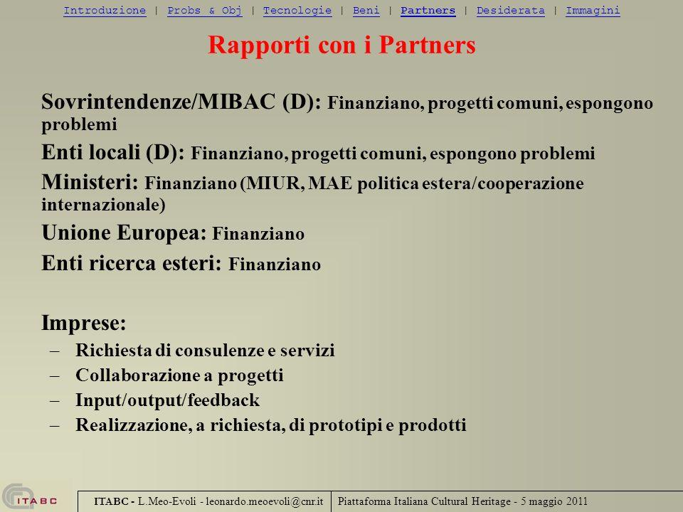 Rapporti con i Partners