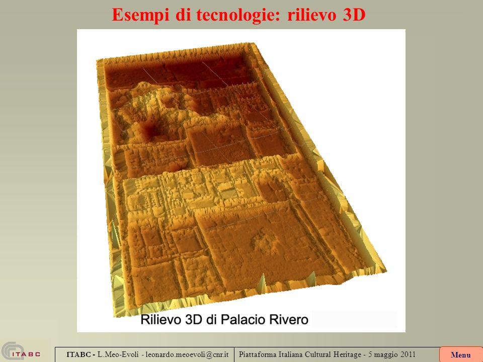 Esempi di tecnologie: rilievo 3D