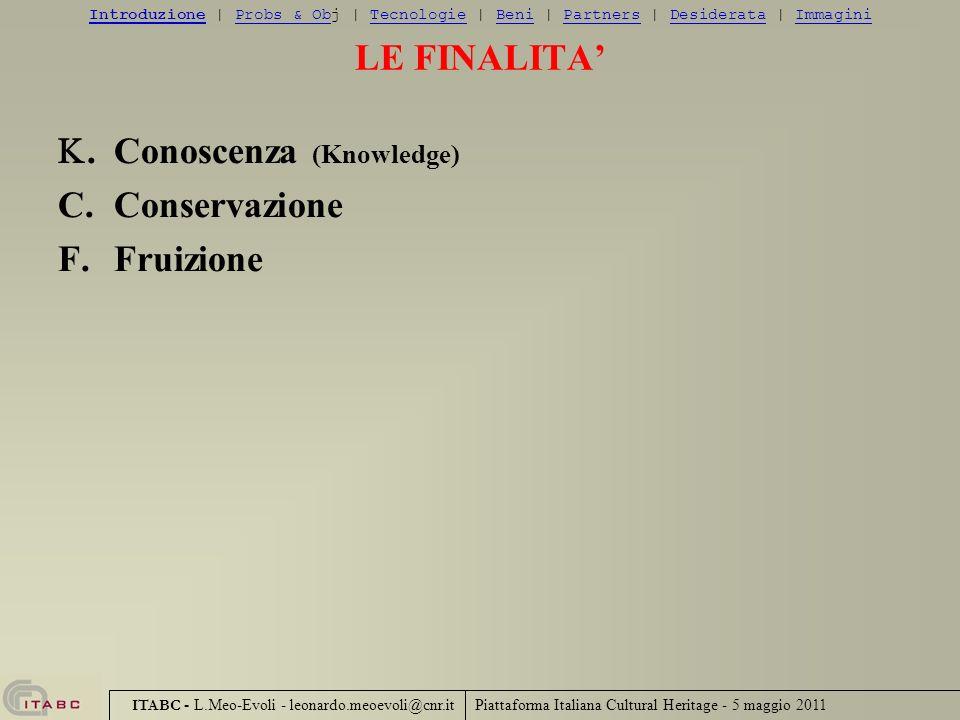 K. Conoscenza (Knowledge) C. Conservazione F. Fruizione