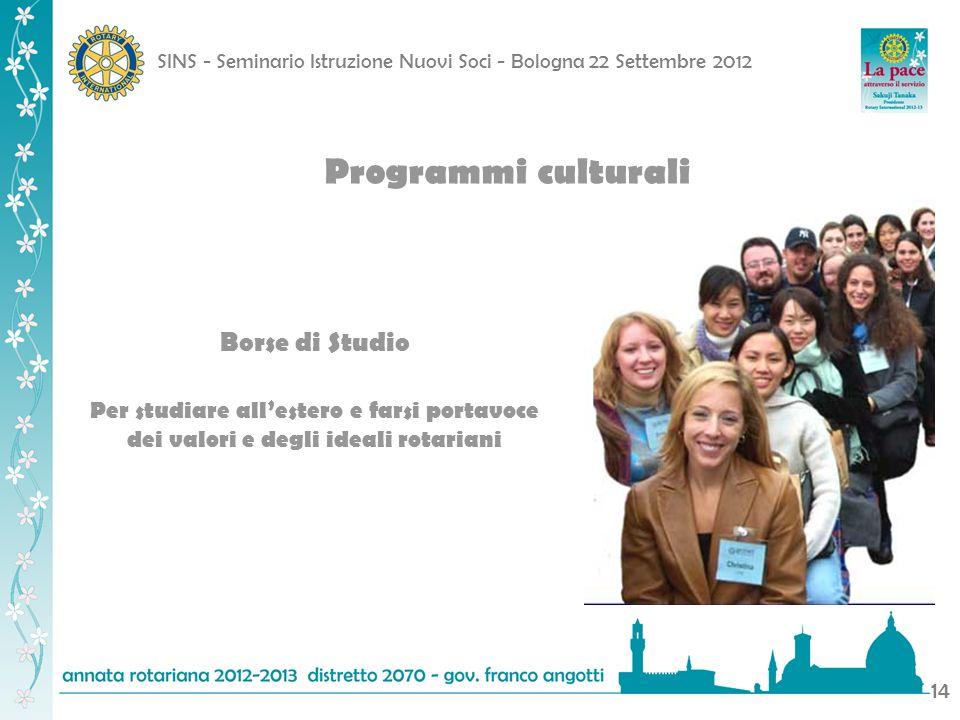 Programmi culturali Borse di Studio