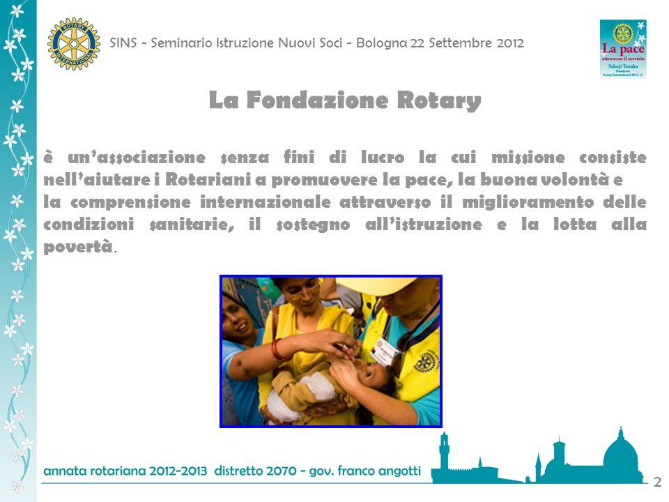 La Fondazione Rotary è un'associazione senza fini di lucro la cui missione consiste nell'aiutare i Rotariani a promuovere la pace, la buona volontà e.