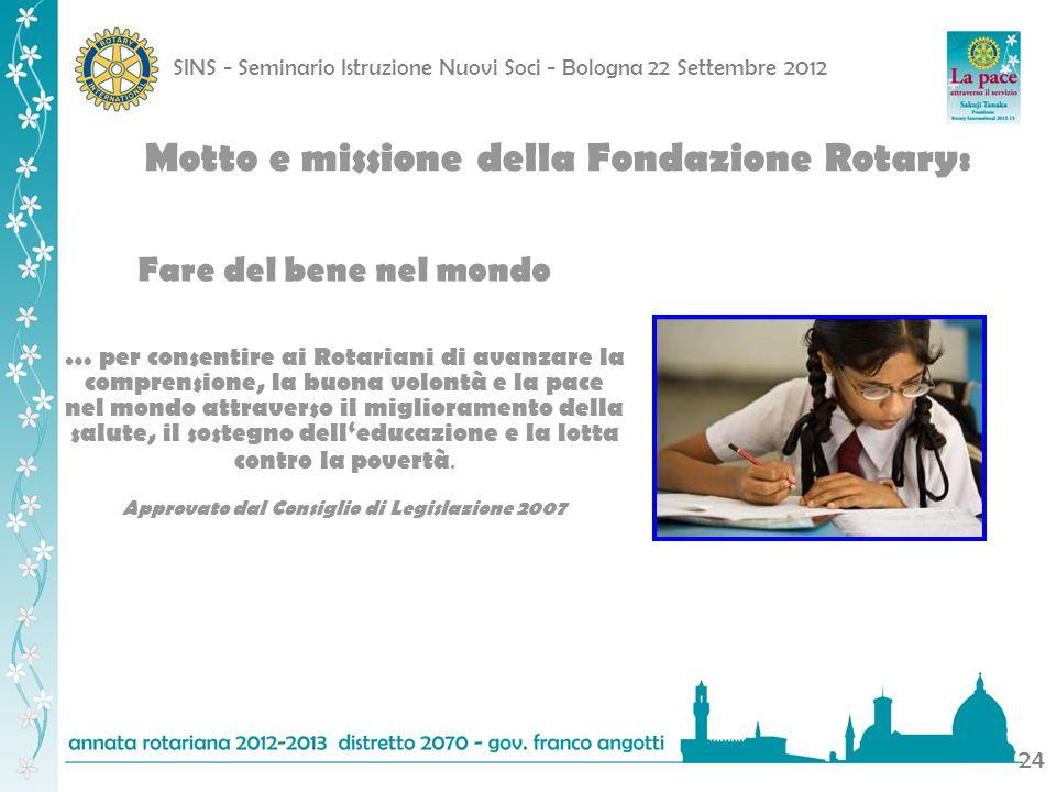 Motto e missione della Fondazione Rotary: