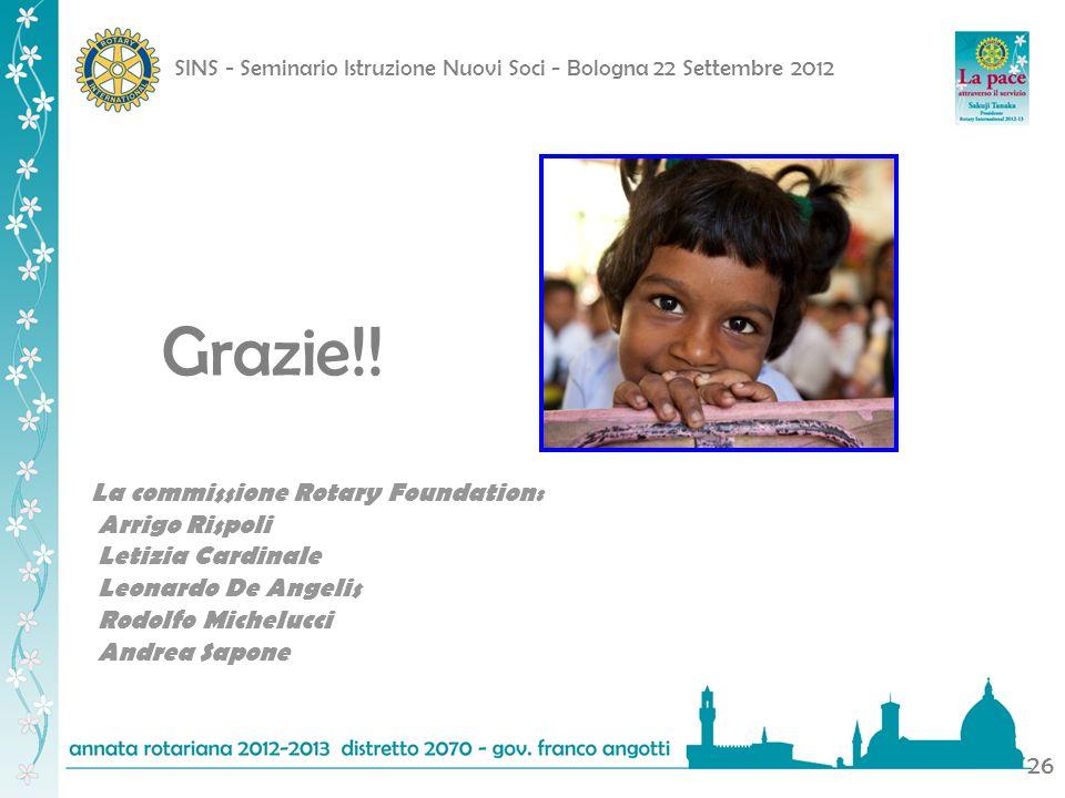 Grazie. La commissione Rotary Foundation: Arrigo Rispoli
