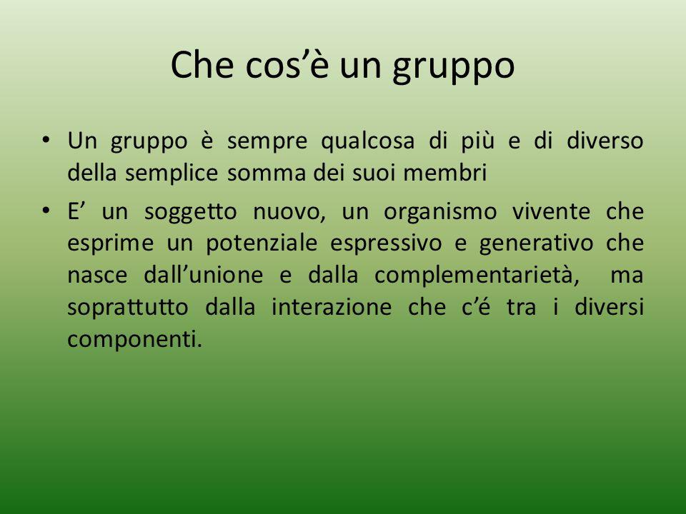 Che cos'è un gruppo Un gruppo è sempre qualcosa di più e di diverso della semplice somma dei suoi membri.