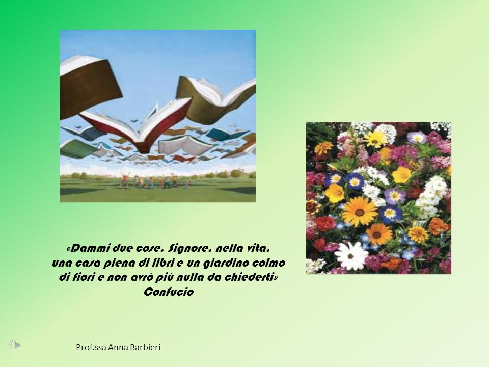 «Dammi due cose, Signore, nella vita, una casa piena di libri e un giardino colmo di fiori e non avrò più nulla da chiederti» Confucio