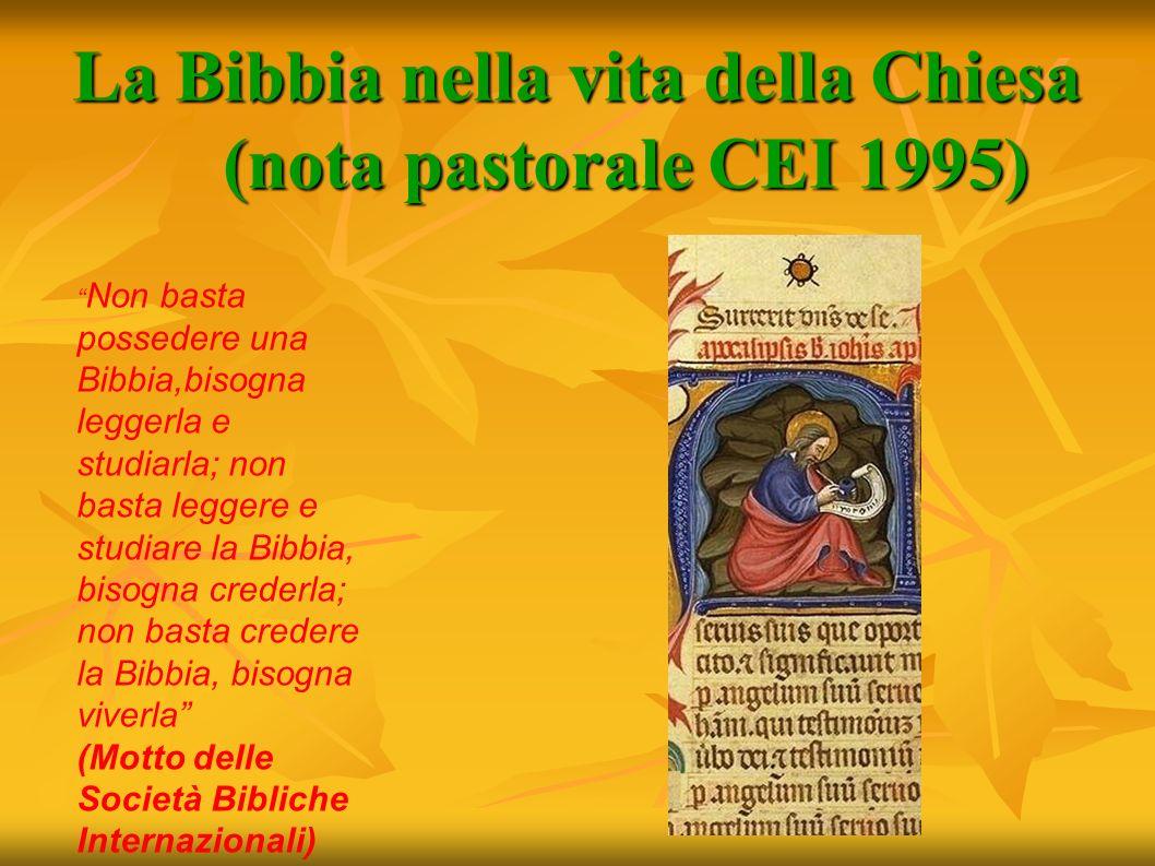La Bibbia nella vita della Chiesa (nota pastorale CEI 1995)