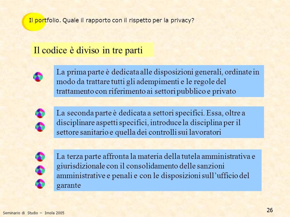 Il codice è diviso in tre parti