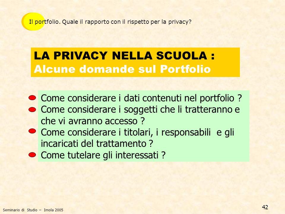 LA PRIVACY NELLA SCUOLA : Alcune domande sul Portfolio