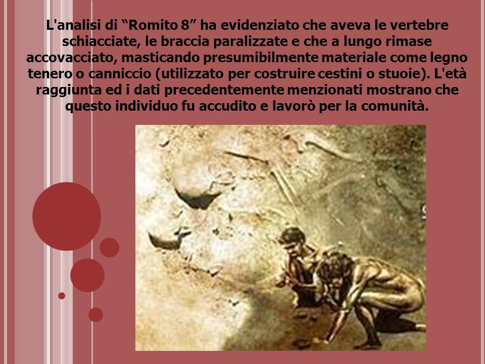 L analisi di Romito 8 ha evidenziato che aveva le vertebre schiacciate, le braccia paralizzate e che a lungo rimase accovacciato, masticando presumibilmente materiale come legno tenero o canniccio (utilizzato per costruire cestini o stuoie).