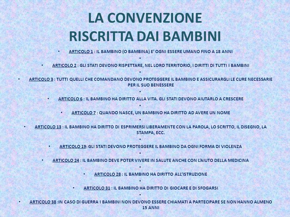 LA CONVENZIONE RISCRITTA DAI BAMBINI