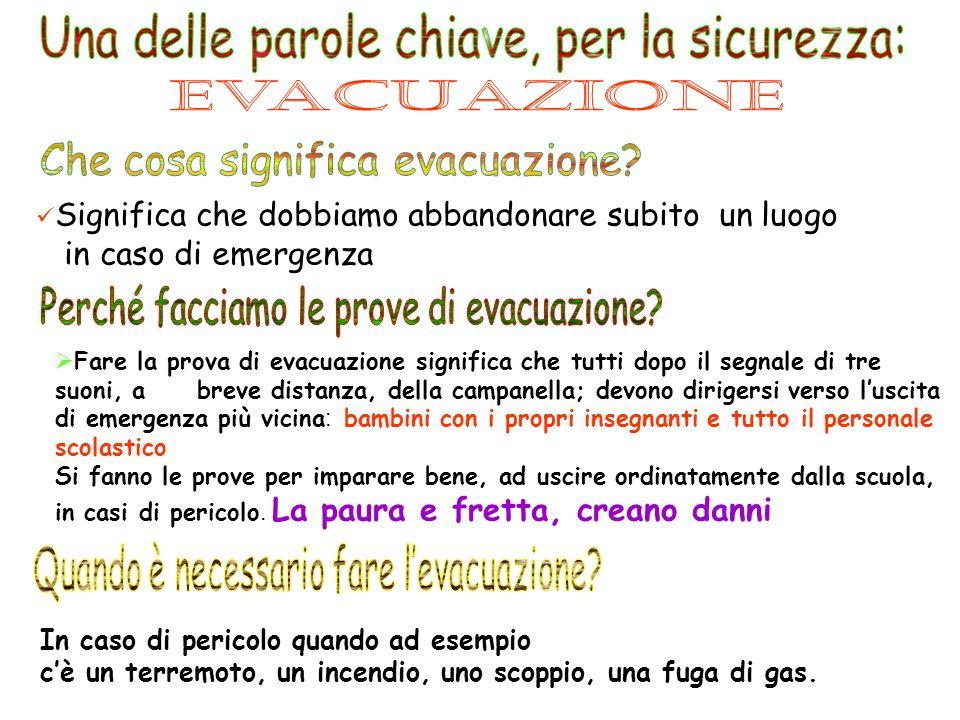 Una delle parole chiave, per la sicurezza: Evacuazione