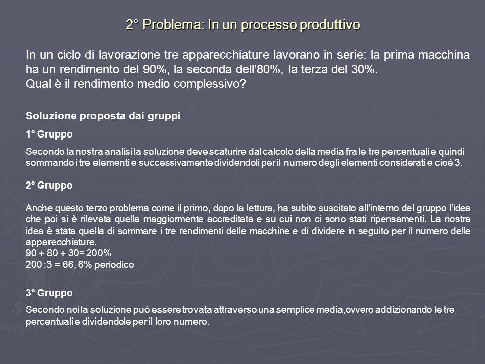 2° Problema: In un processo produttivo
