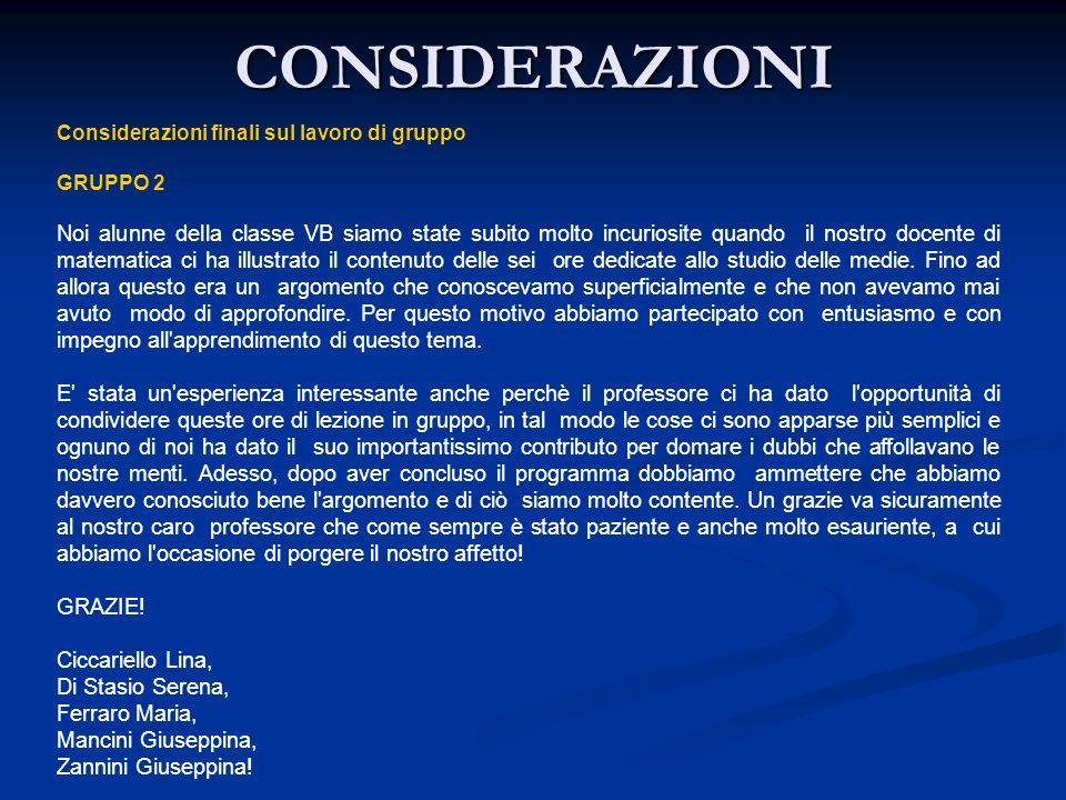 CONSIDERAZIONI Considerazioni finali sul lavoro di gruppo. GRUPPO 2.
