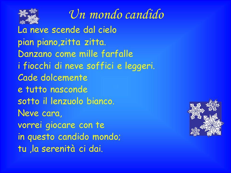 Un mondo candido La neve scende dal cielo pian piano,zitta zitta.