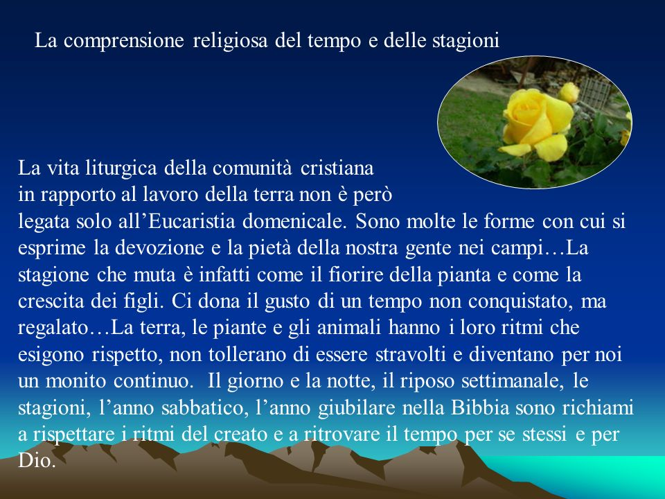 La comprensione religiosa del tempo e delle stagioni