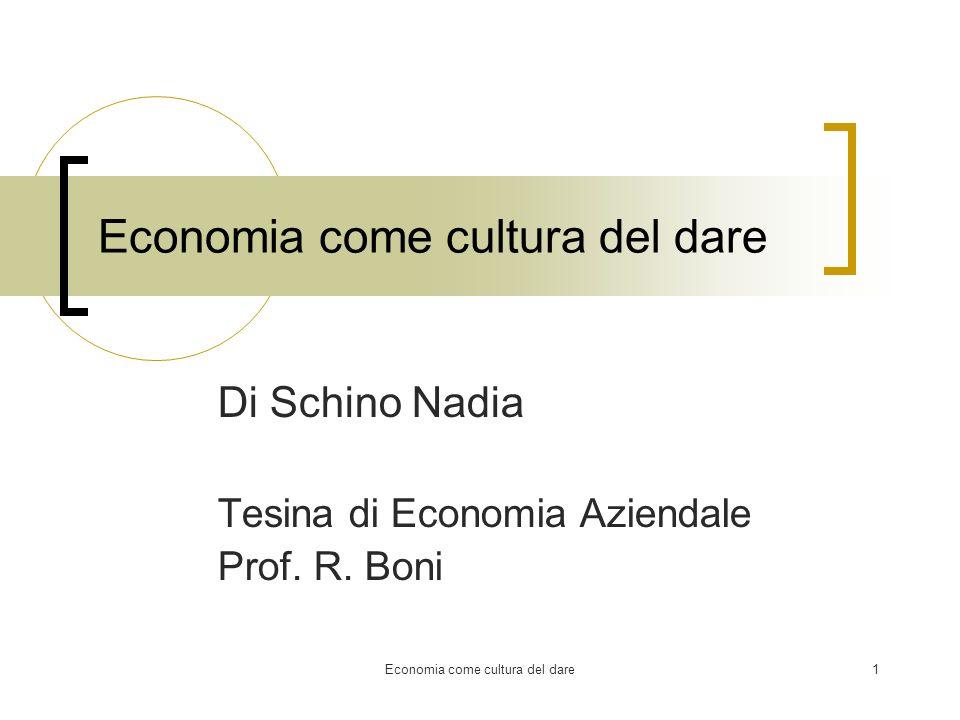 Economia come cultura del dare