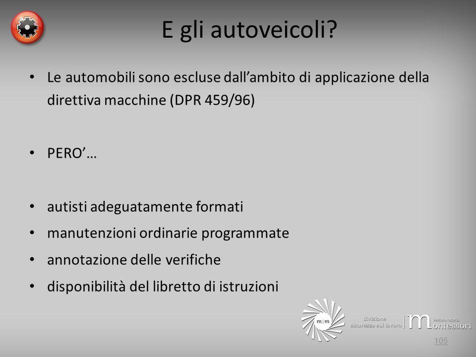 E gli autoveicoli Le automobili sono escluse dall'ambito di applicazione della direttiva macchine (DPR 459/96)