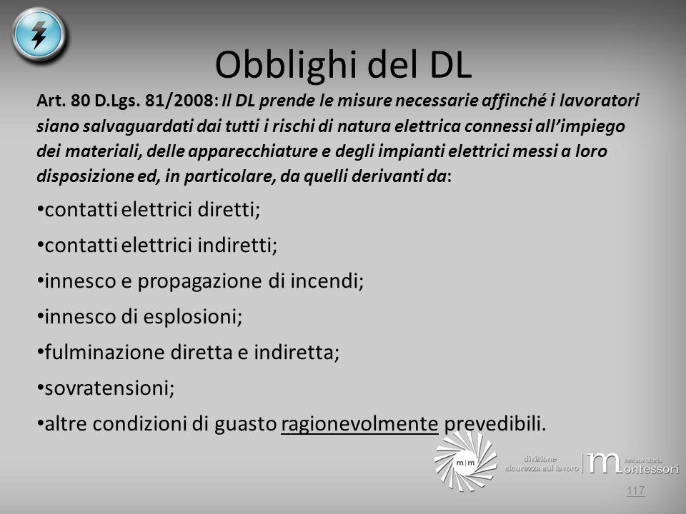 Obblighi del DL contatti elettrici diretti;