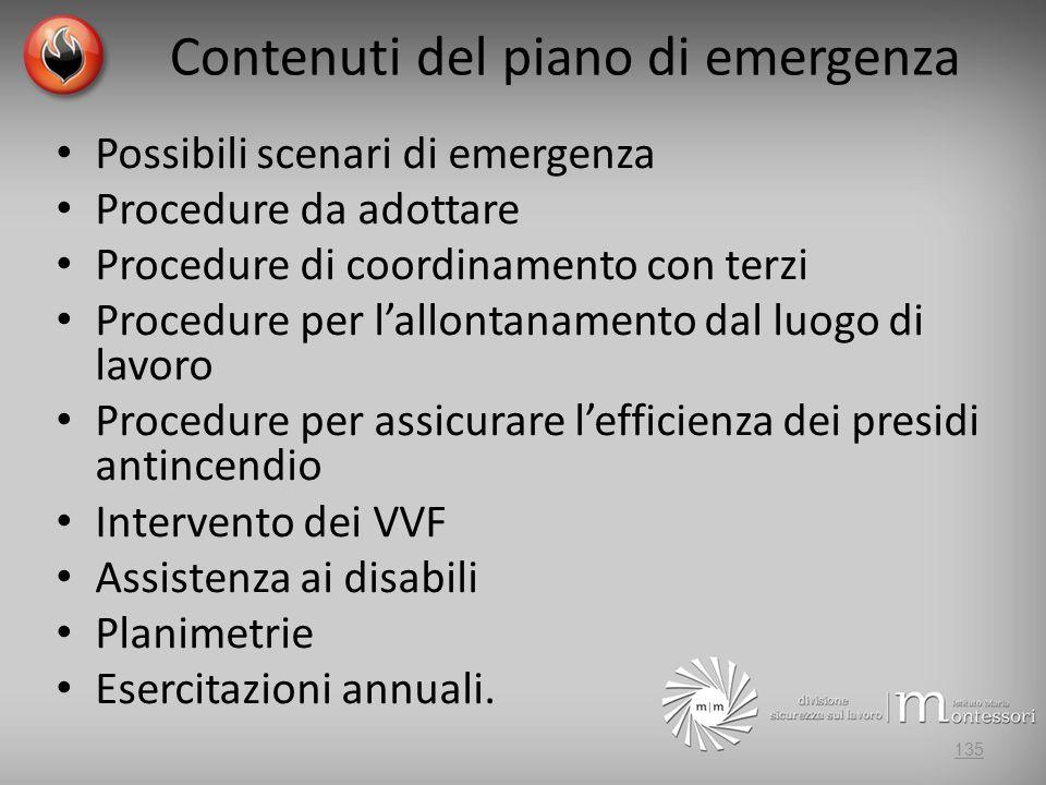 Contenuti del piano di emergenza
