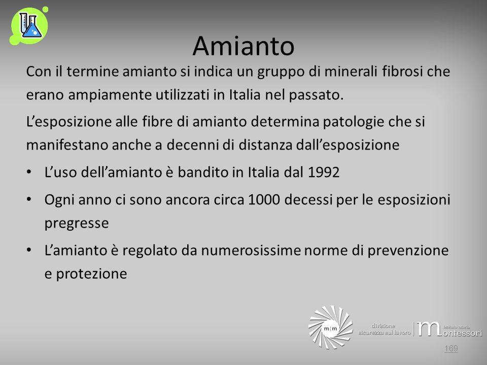 Amianto Con il termine amianto si indica un gruppo di minerali fibrosi che erano ampiamente utilizzati in Italia nel passato.