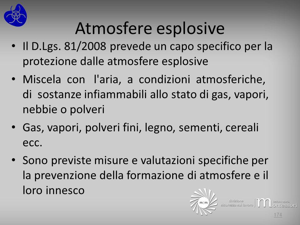 Atmosfere esplosive Il D.Lgs. 81/2008 prevede un capo specifico per la protezione dalle atmosfere esplosive.