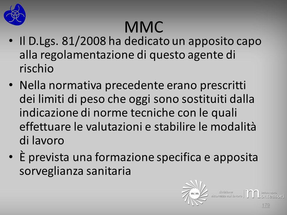 MMC Il D.Lgs. 81/2008 ha dedicato un apposito capo alla regolamentazione di questo agente di rischio.