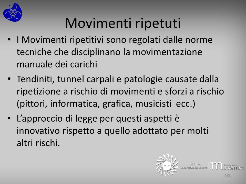 Movimenti ripetuti I Movimenti ripetitivi sono regolati dalle norme tecniche che disciplinano la movimentazione manuale dei carichi.