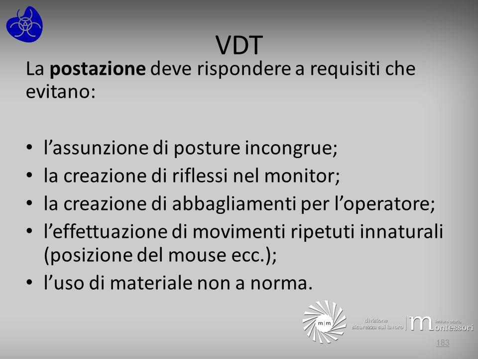 VDT La postazione deve rispondere a requisiti che evitano: