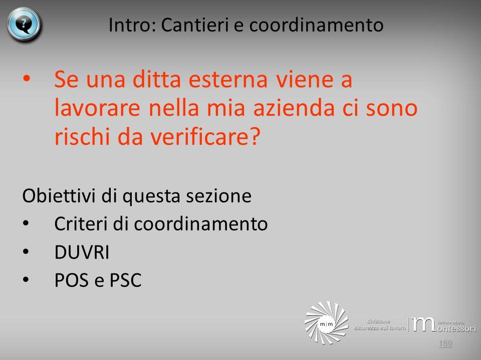Intro: Cantieri e coordinamento