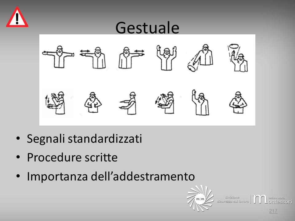 Gestuale Segnali standardizzati Procedure scritte