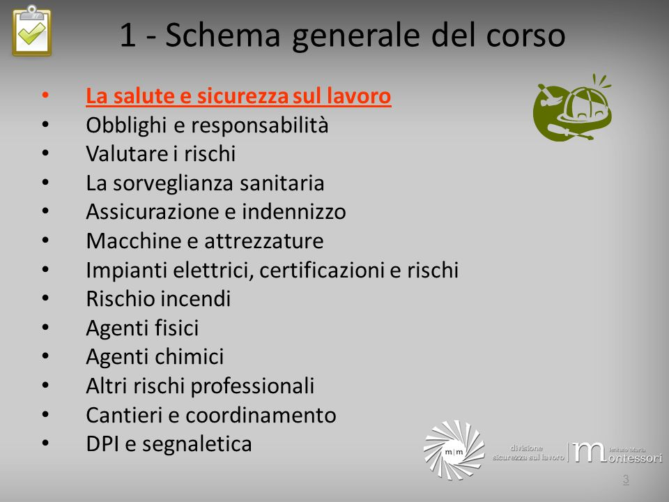 1 - Schema generale del corso