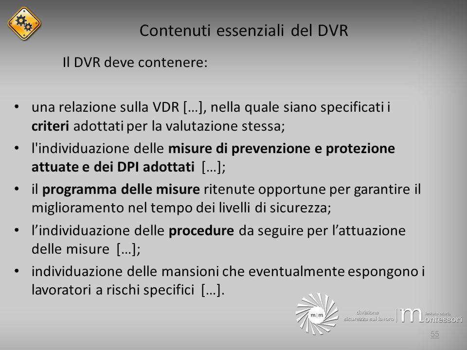 Contenuti essenziali del DVR