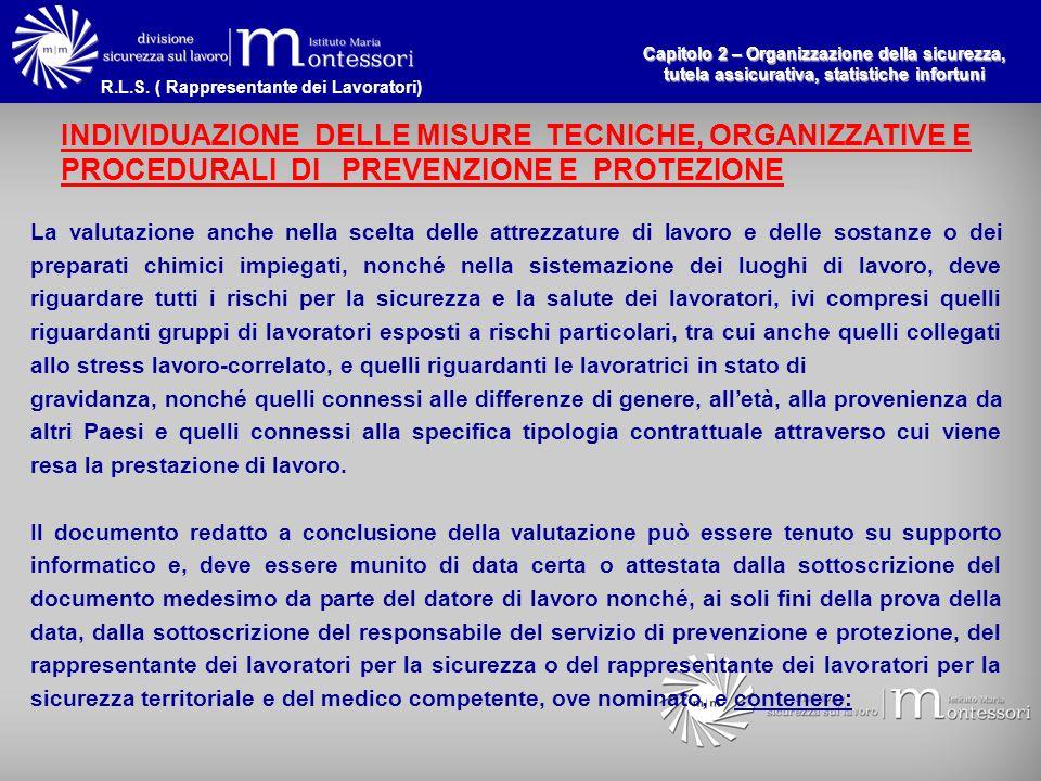 Capitolo 2 – Organizzazione della sicurezza, tutela assicurativa, statistiche infortuni