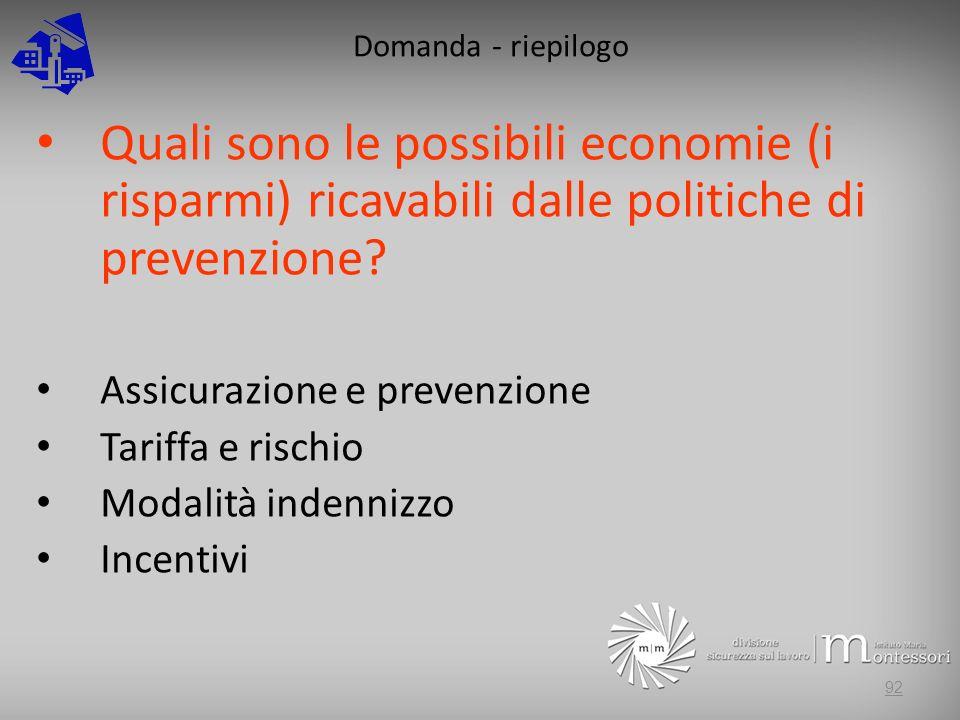 Domanda - riepilogo Quali sono le possibili economie (i risparmi) ricavabili dalle politiche di prevenzione