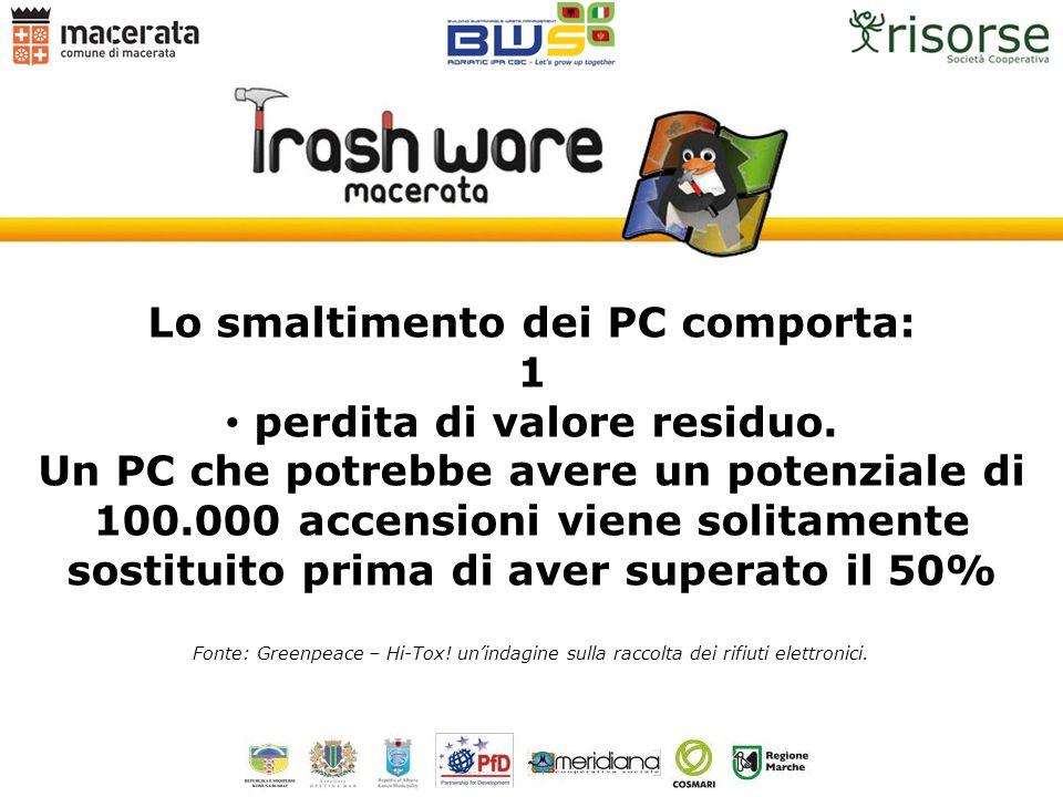Lo smaltimento dei PC comporta: perdita di valore residuo.