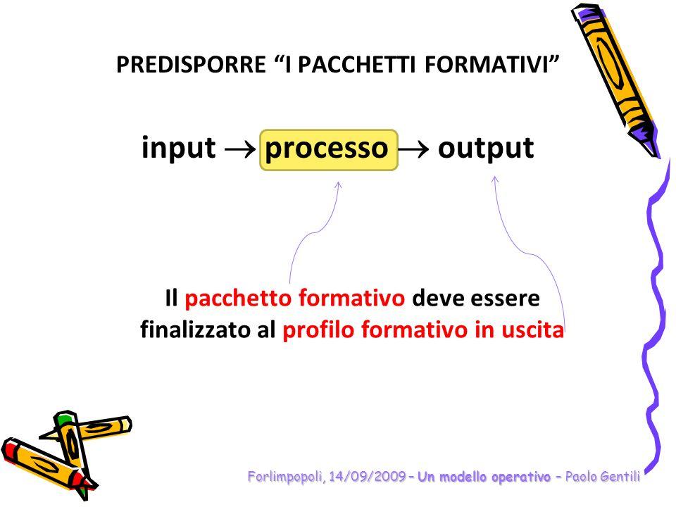PREDISPORRE I PACCHETTI FORMATIVI input  processo  output