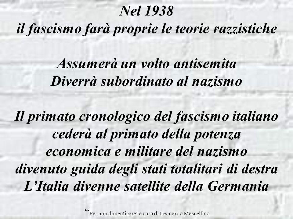 il fascismo farà proprie le teorie razzistiche