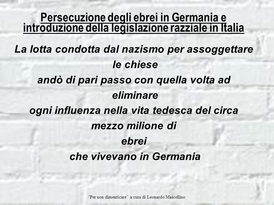 Persecuzione degli ebrei in Germania e introduzione della legislazione razziale in Italia