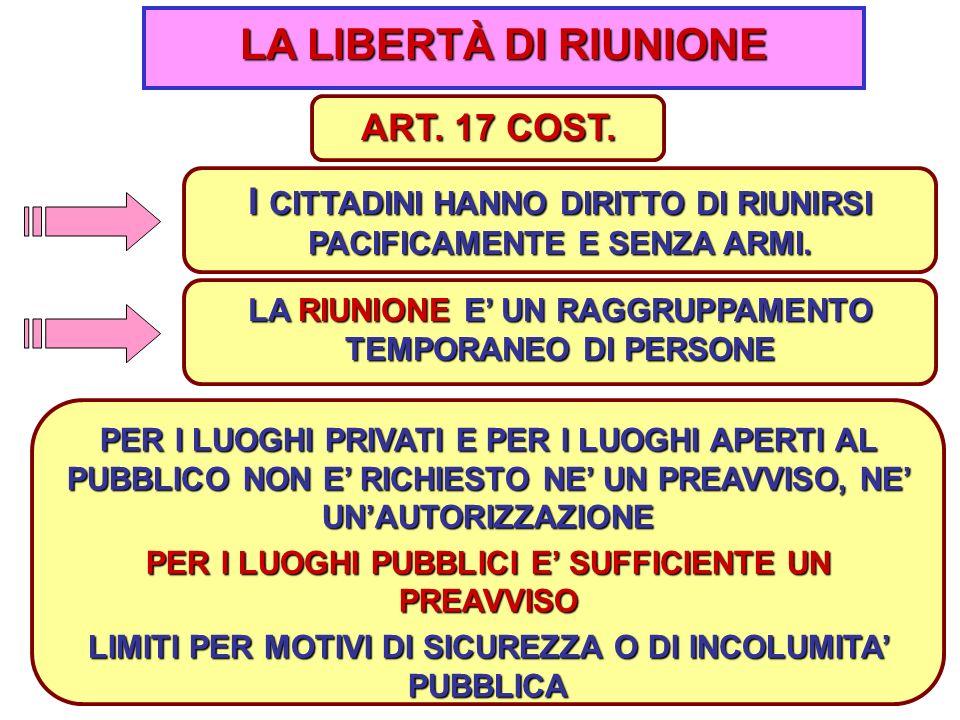 LA LIBERTÀ DI RIUNIONE ART. 17 COST.