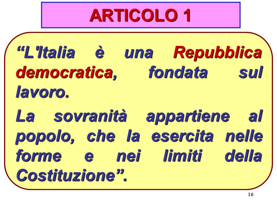 ARTICOLO 1 L Italia è una Repubblica democratica, fondata sul lavoro.