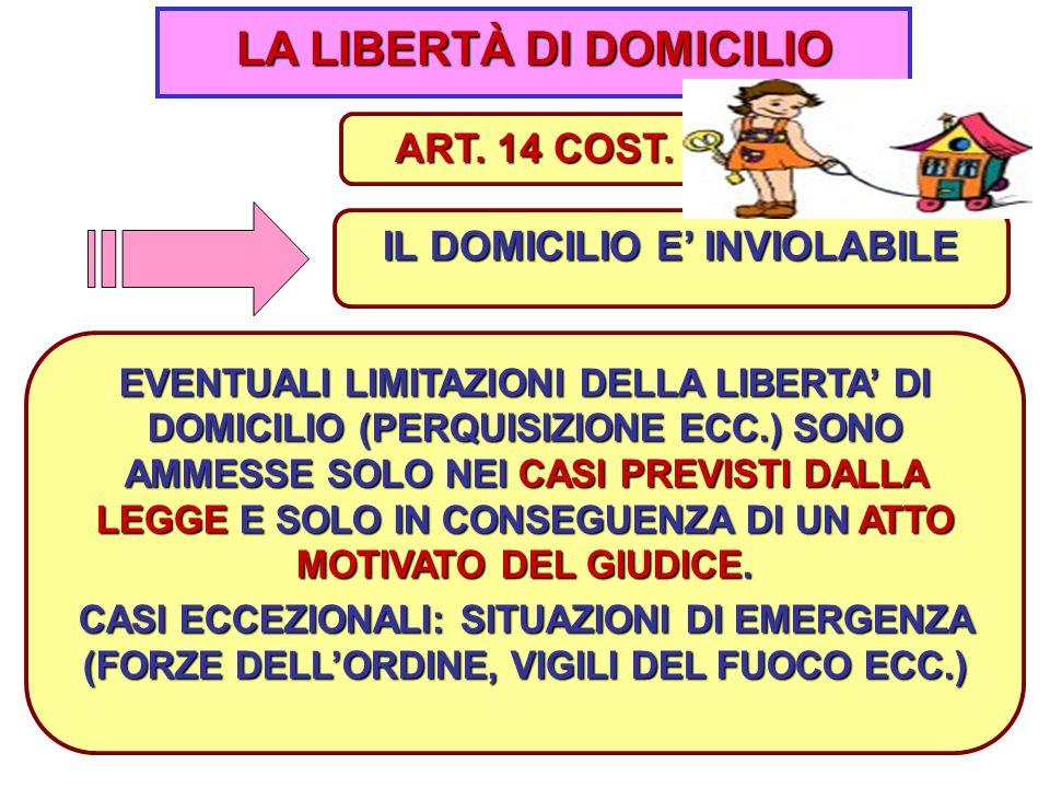 LA LIBERTÀ DI DOMICILIO IL DOMICILIO E' INVIOLABILE